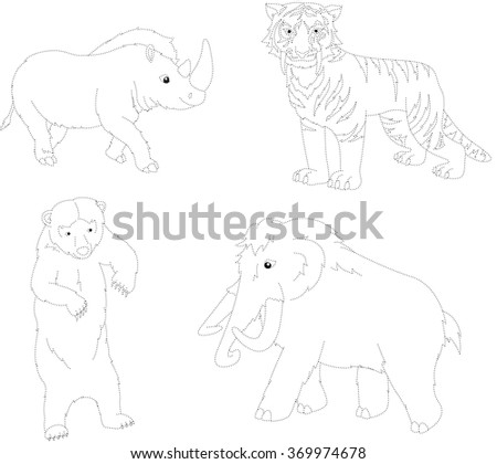 Set of mammoth, prehistoric bear, saber-toothed tiger and rhino. Dot to dot educational game for kids. illustration - stock photo