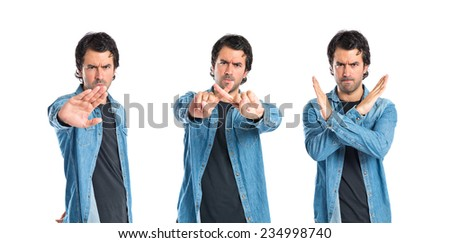 Set of Man doing NO gesture over white background