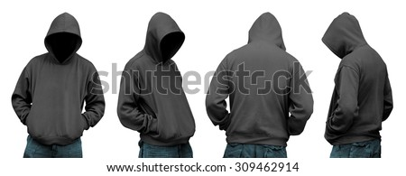 Set of man in hoodie isolated over white background - stock photo