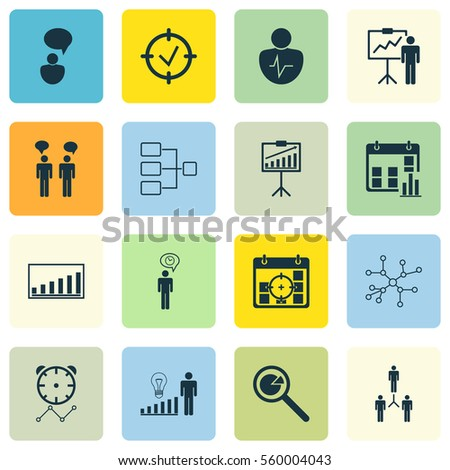 Set 16 Management Icons Includes Report Stock Illustration 560004043