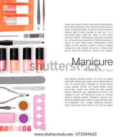 set of manicure and pedicure tools and appliances on white background - stock photo