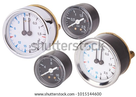 Set of manometers. Measuring tool. Isolated on white. Round gauge with metal frame