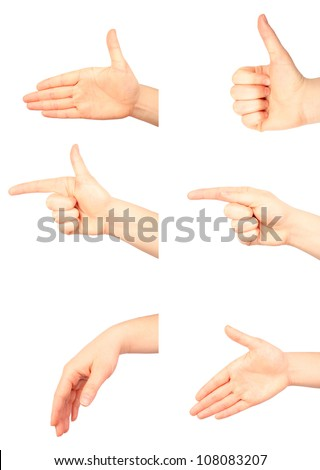 Set of many different hand gestures isolated on white background