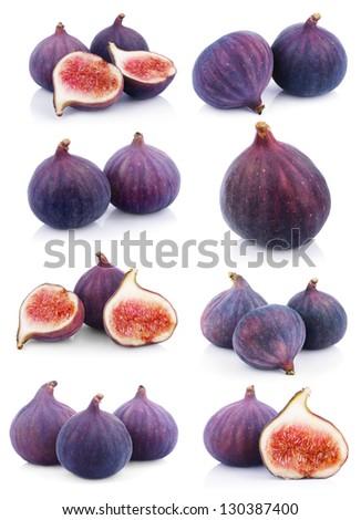 Set of many fig fruits isolated on white background - stock photo