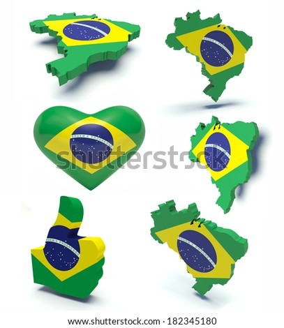 Set of maps of Brazil, heart and thumbs up with brazilian flag colors. 3d render illustration. - stock photo