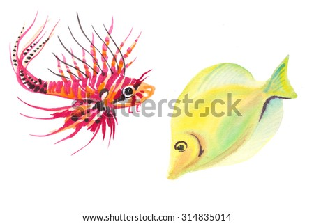 Set of marine fish. Hand painting watercolor illustration. Tropical fish. - stock photo