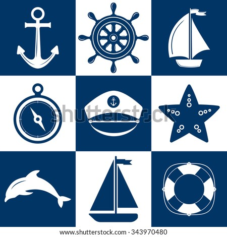 Set of marine symbols. Nautical and marine icons. Flat icons with sea symbols. Collection of element: anchor, starfish, boat, lifebuoy, compass, helm. Set of sea and nautical decorations.