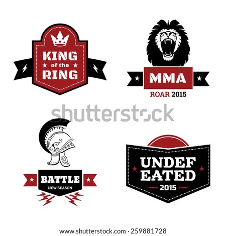 Set of martial arts logo. mma and mix fight, emblem and ring - stock photo