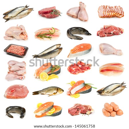 Set of meat, chicken and fish isolated on white background - stock photo