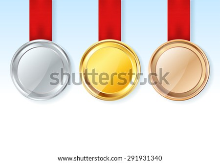 set of medals with red ribbons and stars. raster version. raster version - stock photo