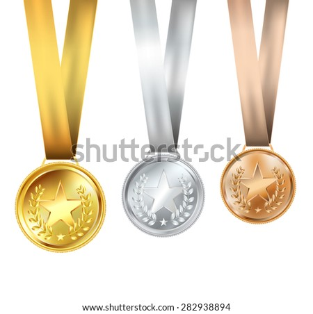 set of medals with stars - stock photo