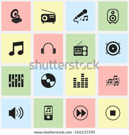Set Of 16  Media Icons. Includes Symbols Such As Music Phone, Disc, Phonograph And More. Can Be Used For Web, Mobile, UI And Infographic Design.
