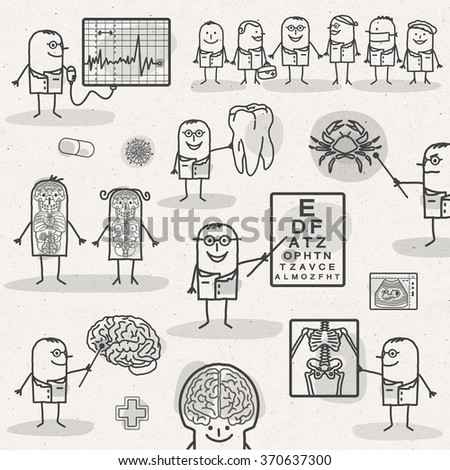 set of medical black and white cartoons - DOCTORS AND SPECIALISTS - stock photo