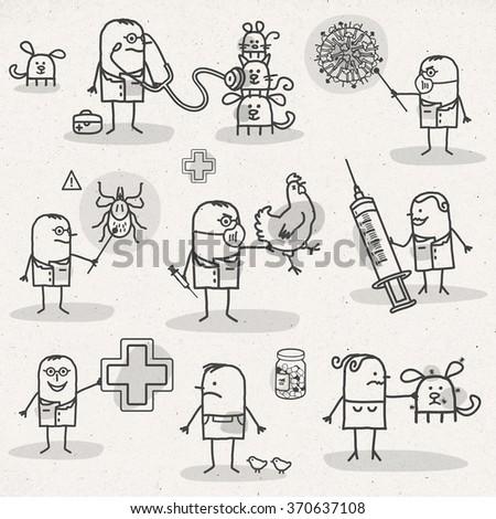 set of medical black and white cartoons - VETERINARY - stock photo