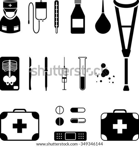 Set of medical black icon - stock photo