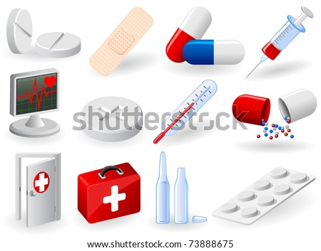 Set of medical icons, illustration - stock photo