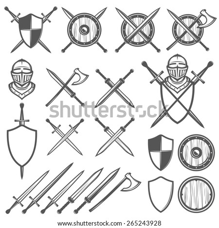 Set of medieval swords, shields and design elements - stock photo