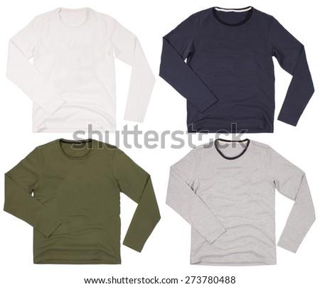 Set of men's shirts isolated on a white background - stock photo