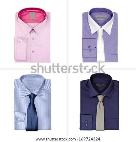 Set of men's shirts isolated on white background - stock photo