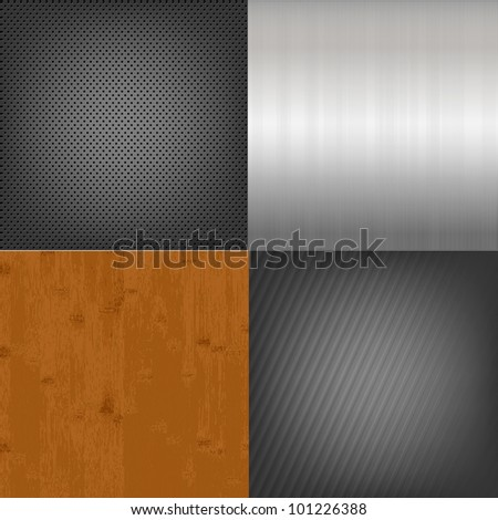 Set Of Metal And Wood Texture Background - stock photo