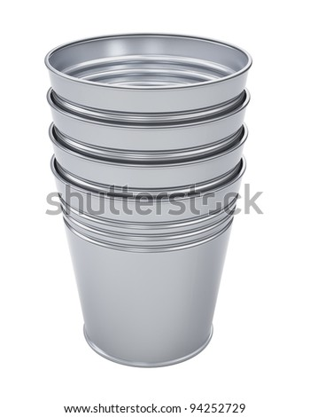 Set of metal bins isolated 3d model - stock photo
