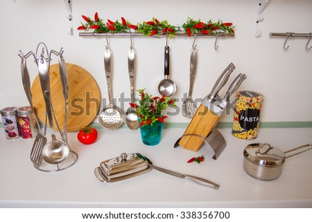 Set of metal cutlery for cooking - stock photo