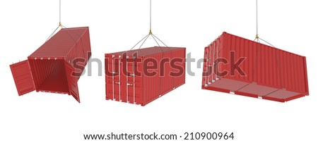 Set of metal freight shipping containers on the hooks in different positions, red colour - photorealistic 3d perspective render, white background - stock photo