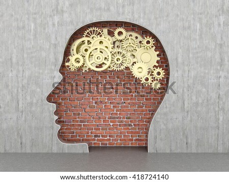 Set of metal gear in the form of the brain in the wall opening in the form of human head.3D illustration - stock photo
