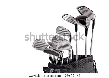 set of metal golf clubs in bag up close isolated on white background