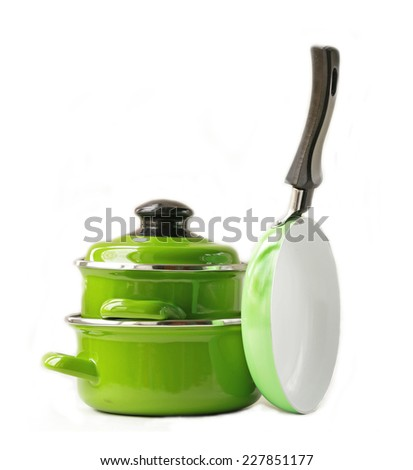 set of metal pots and pan cookware on a white background