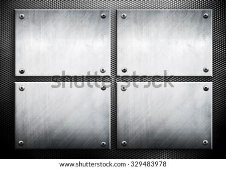 set of metal template on metal mesh background - stock photo