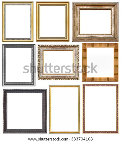 Set of metal vintage frame isolated on white background