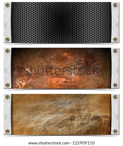 Set of Metallic Headers / Three horizontal grunge metallic banners or headers with bolts and shadow - stock photo