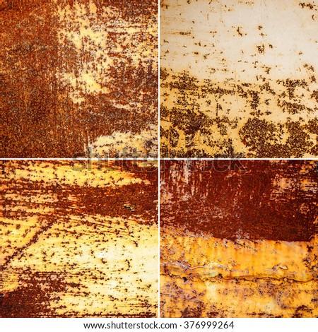 set of metallic rust texture background - stock photo