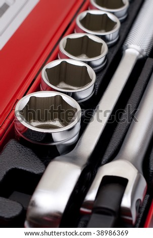 Set of metallic tools. Chrome wrench