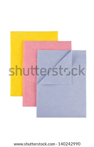 Set of Microfiber cleaning towel over white background - stock photo