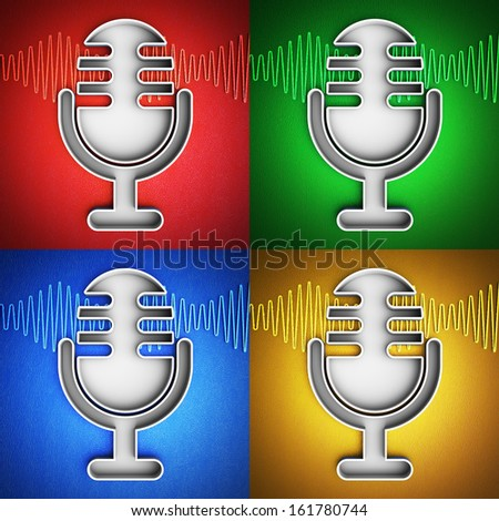 Set of microphone icons - stock photo