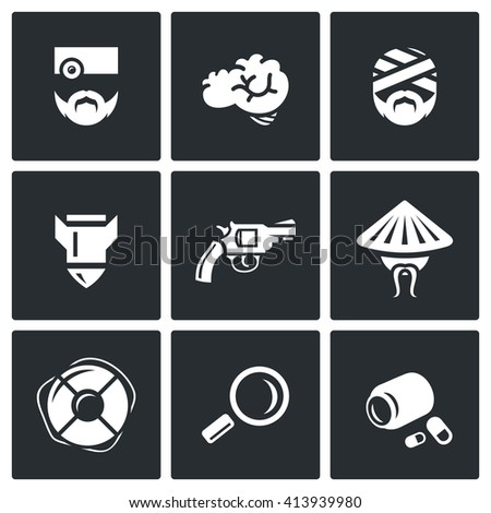 Set of Military Rehabilitation Icons. Health, Mind, Contusion, War, Suicide, Vietnam, Salvation, Diagnosis, Treatment. Soldier With PTSD and Medicine. Isolated symbols on a black background - stock photo