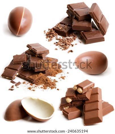 Set of Milk Chocolate Egg Isolated On White Background - stock photo