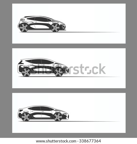Set of modern car silhouettes isolated on white background. Sedan, hatchback, crossover. Rasterized copy - stock photo