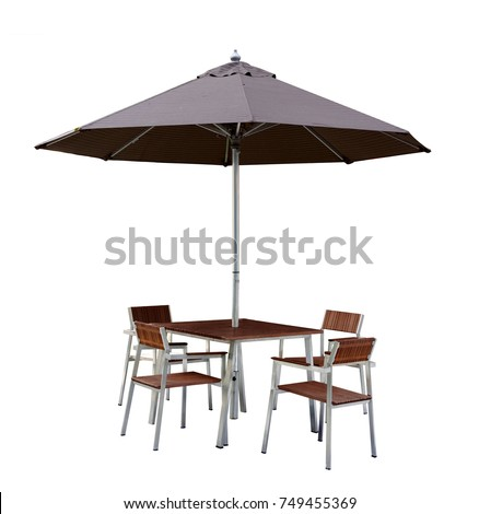 Set Of Modern Chair And Table With Outdoor Patio Umbrella, Wood And Chrome  Or Steel