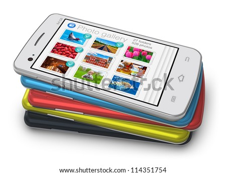 Set of modern color glossy touchscreen smartphones isolated on white background - stock photo