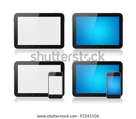 Set of modern digital tablet PC with mobile smart phone. Isolated on white. - stock photo