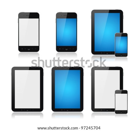 Set of modern digital tablet PC with mobile smart phone. Isolated on white.