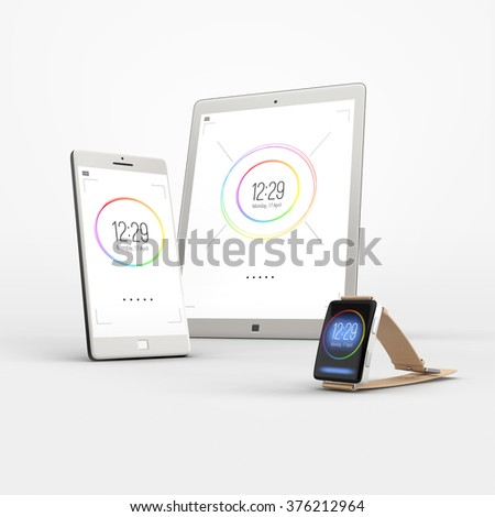 Set of modern electronic devices on white background. Mobile smartphones, tablet pc and smart watch. - stock photo