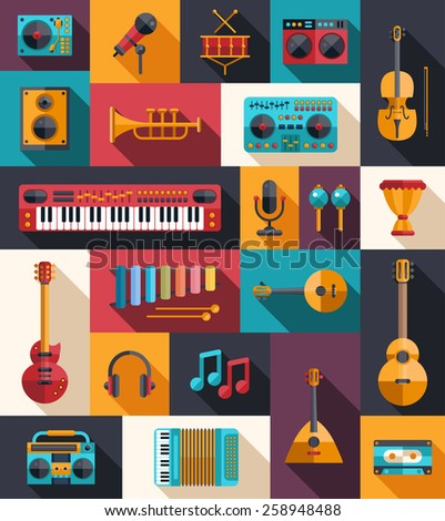Set of modern flat design musical instruments and music tools icons - stock photo