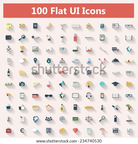 Set of modern icons in flat design with long shadows and trendy colors for web, banners, covers, mobile applications, business, social networks etc. Raster  illustration - stock photo