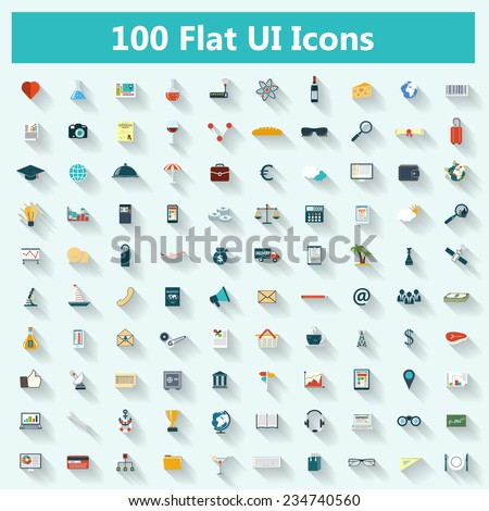 Set of modern icons in flat design with long shadows for banners, covers, brochures, logos, mobile applications. Raster illustration - stock photo