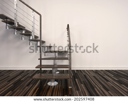 Set of modern internal steps in a house with open treads and a wire balustrade curving up to the left against a white wall from a parquet floor - stock photo
