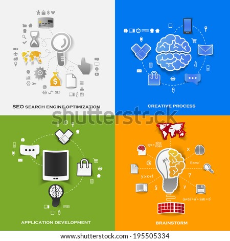 Set of modern stickers. Concept of search engine optimization, creative process, application development, brainstorm - stock photo